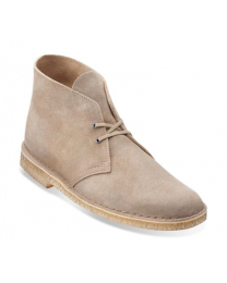 Men's Clarks Desert Boot Taupe Distressed Suede